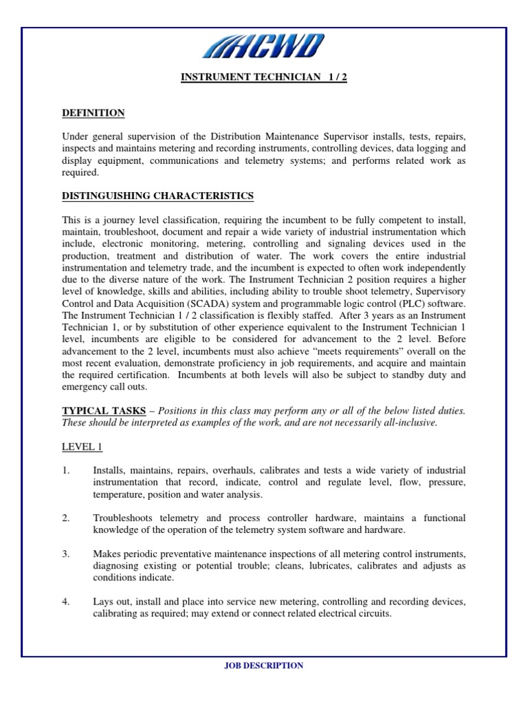 job description of instrumentation technician instrumentation scada automotive - Controls Technician Job Description