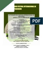 Programa XVIII Festival Internacional de Percusión - Jueves 17 de octubre de 2013
