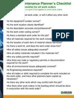 maintenance planner's checklist