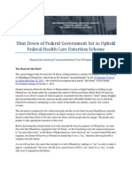 Shut Down of Federal Government Set to Uphold Federal Extortion Racket