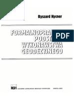 Formalnoprawne Podstawy Wykonawstwa Geodezyjnego - Ryszard Hycner