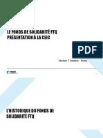 Présentation du Fonds de solidarité à la commission Charbonneau