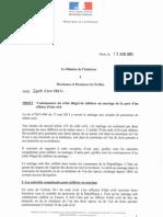 circulaire conséquence refus illégal de mariage 13 juin 2013
