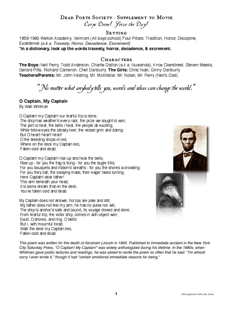 worksheet O Captain My Captain Worksheet Answers dead poets society movie supplement handout with worksheets poetry