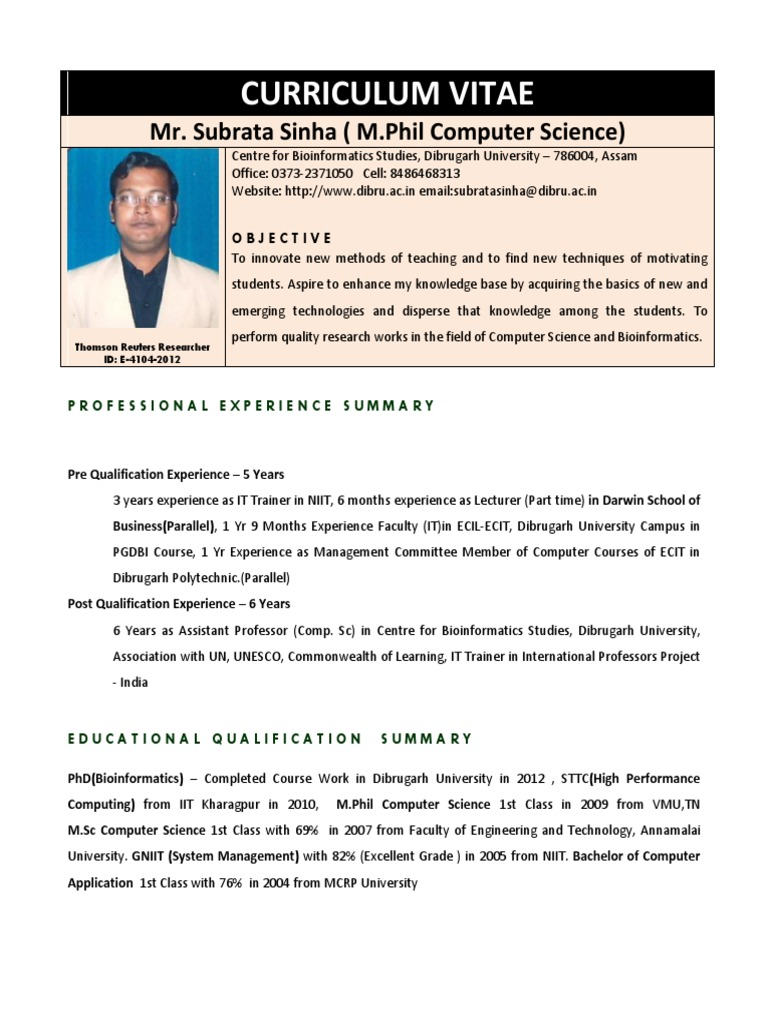 Subrata Sinha Resume Bioinformatics Master Of Science