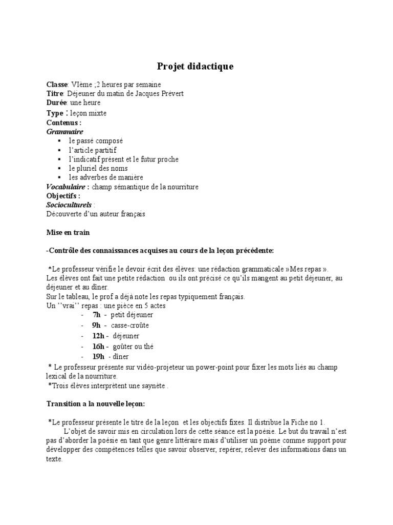 Dejeuner Du Matin Poésie Nombre Grammatical