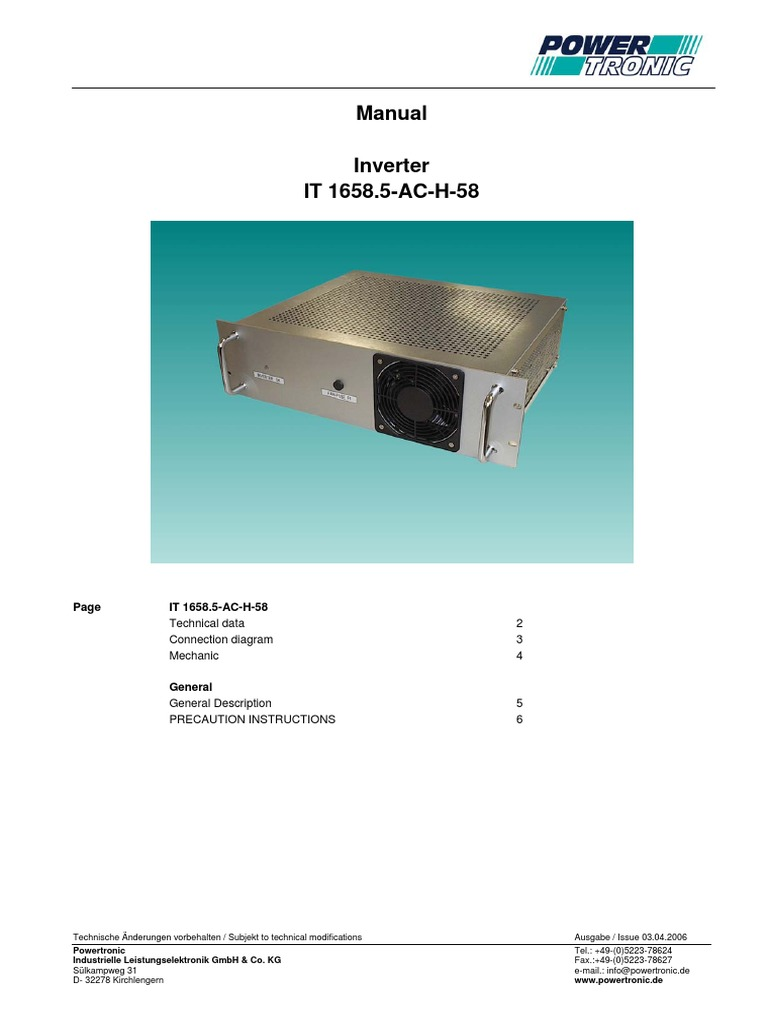 IT 1658-AC_H-58_INSTRUCTION MANUAL.pdf | Power Inverter | Electrical ...
