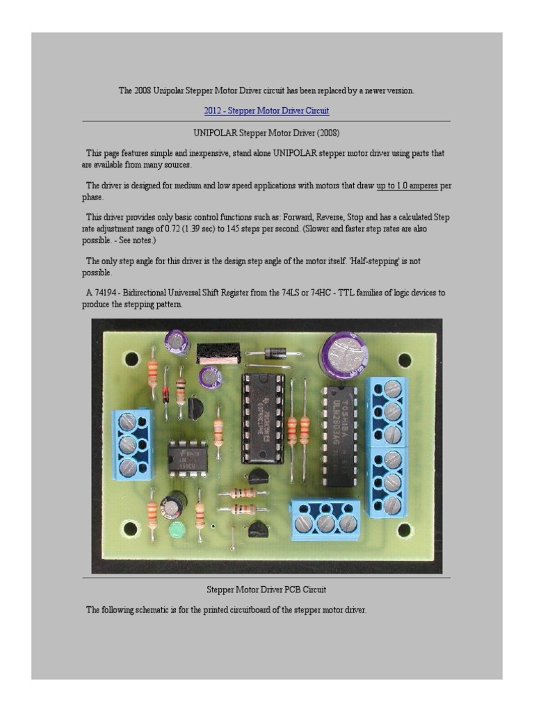 Circuit Stepper Motor Driver Capacitor Electronic Circuits Using This It Is Possible To Control The Speed Of Motors
