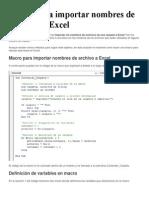 Macro Para Importar Nombres de Archivos a Excel
