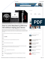 How to Solve Blackberry JVM Error 102 Without Wiping Your Device