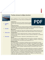 Various Stresses in Ships Structure