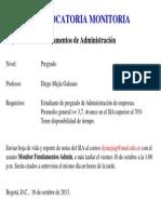 Convocatoria_Monitoría Fundamentos Adminsitración_G 6 y 7_2013-II