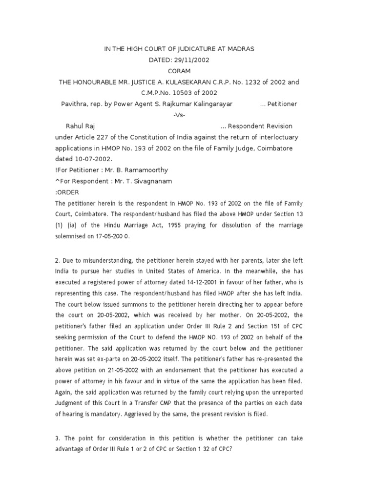 adjournment petition in cpc