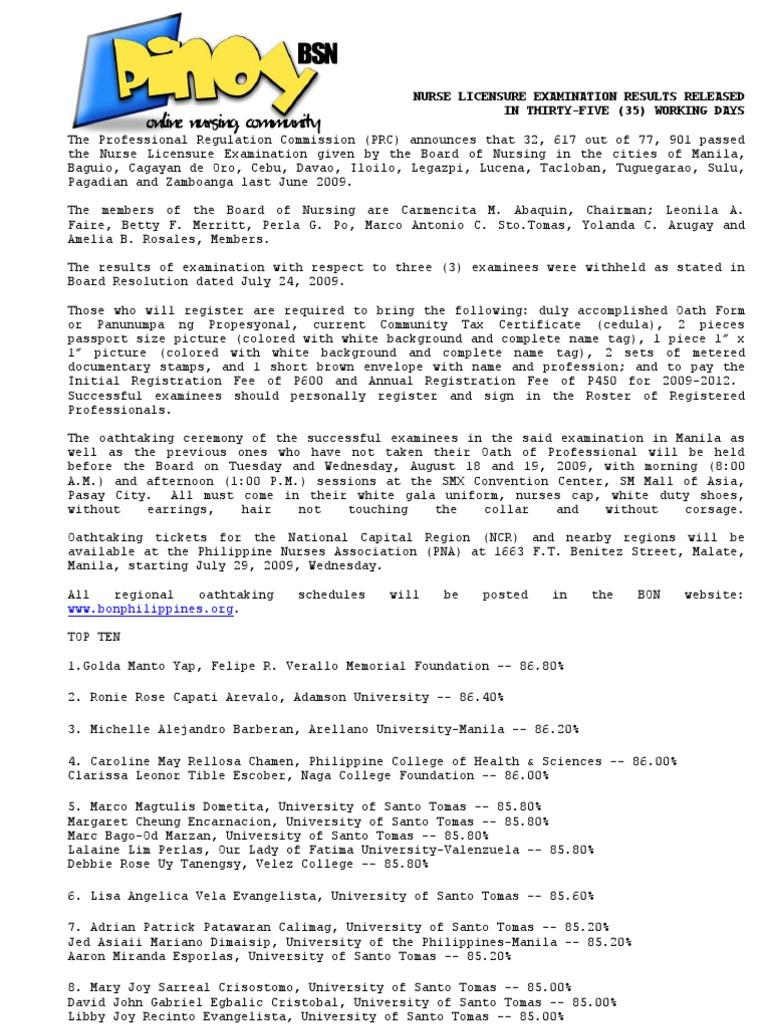 June 2009 Nurse Licensure Exam Result