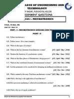 ME2401 - MECHATRONICS QUESTION BANK FOR REGULATION 2008