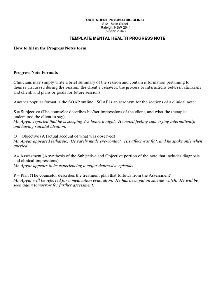 Sample mental health progress note anxiety psychotherapy for Psychology progress note template