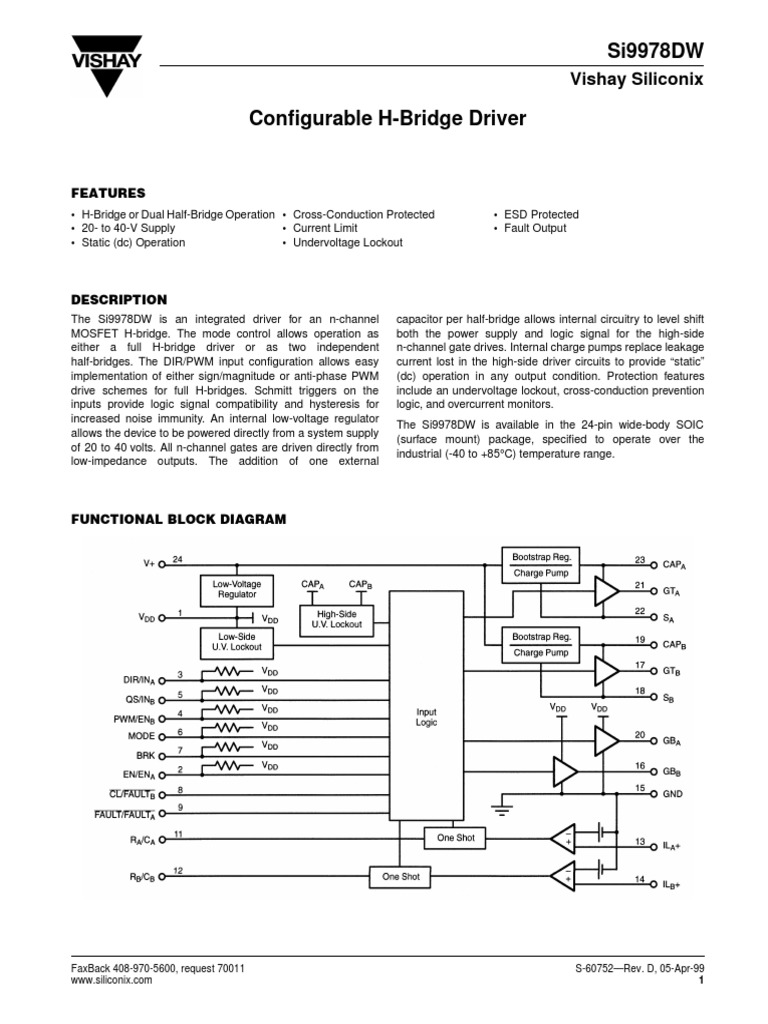 Si9978dw Electrical Engineering Electricity H Bridge Block Diagram