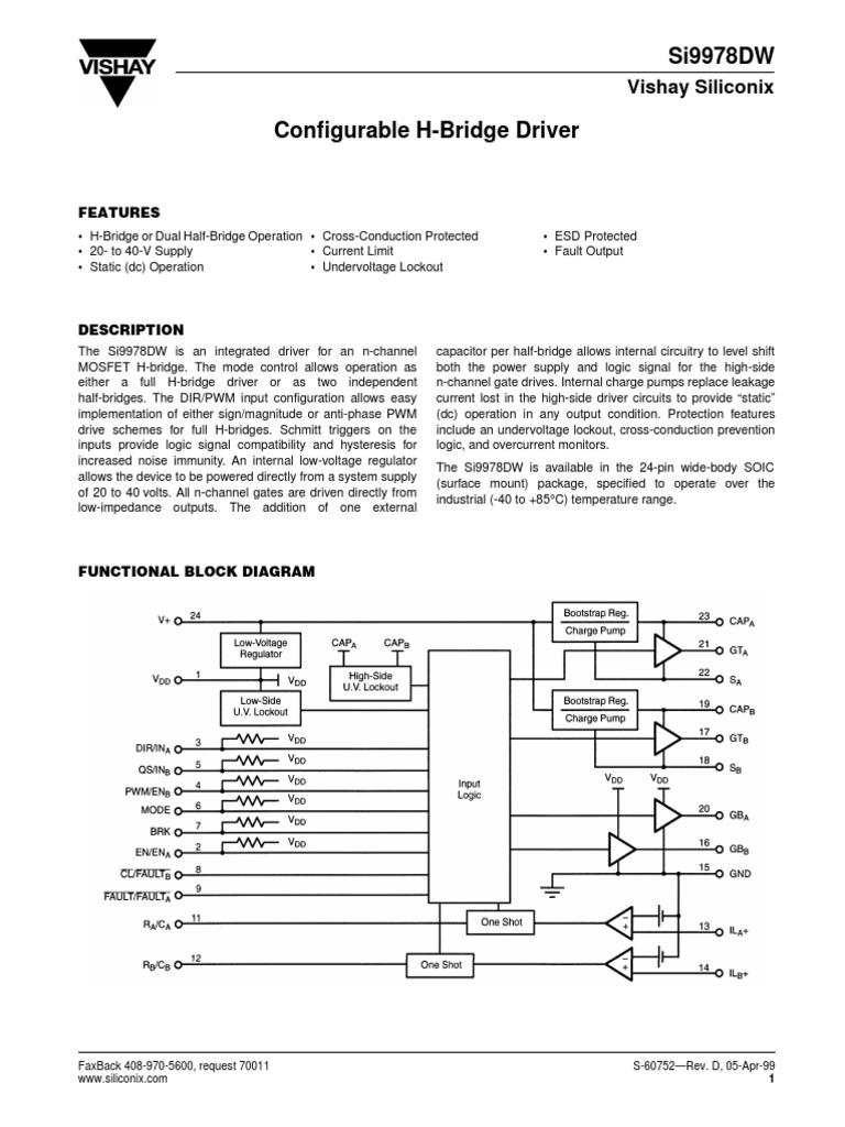 H Bridge Block Diagram Si9978dw Electrical Engineering Electricity