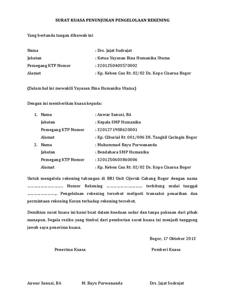 surat kuasa penunjukan pengelolaan rekening