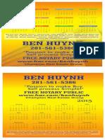 Ben Huynh CalBen Huynh Calendar 2014-2015endar 2014-2015 (1)
