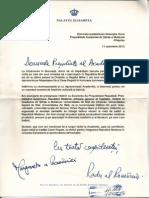 Scrisoarea Alteţei Sale Regale Margareta, Principesa Moştenitoare a României şi Alteţei Sale Regală Radu, Principe al României