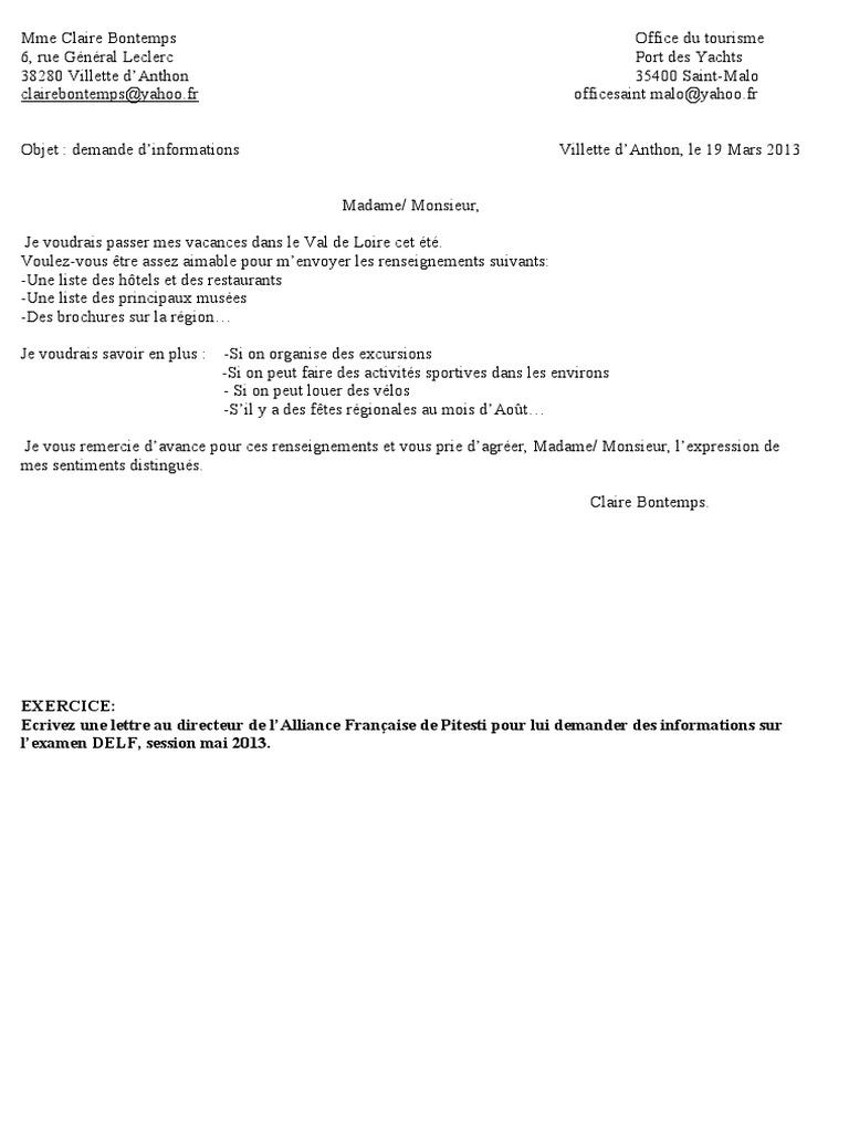 Exemples De Lettre Formelle Paris