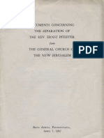 The General Church of the New Jerusalem DOCUMENTS CONCERNING THE SEPARATION BrynAthyn 1937