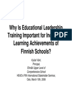 Why is Educational Leadership Training Important for Increasing Learning Achievements of Finnish Schools