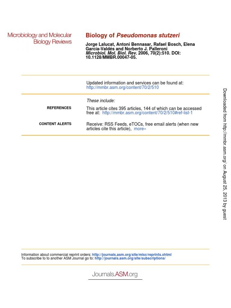 Biology Of Pseudomonas Stutzeri Pseudomonas