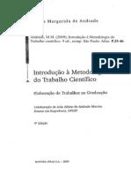 Andrade, M.M. 2009 Introdução à Metodologia do Trabalho científico 9 ed reimp São Paulo Atlas P2546