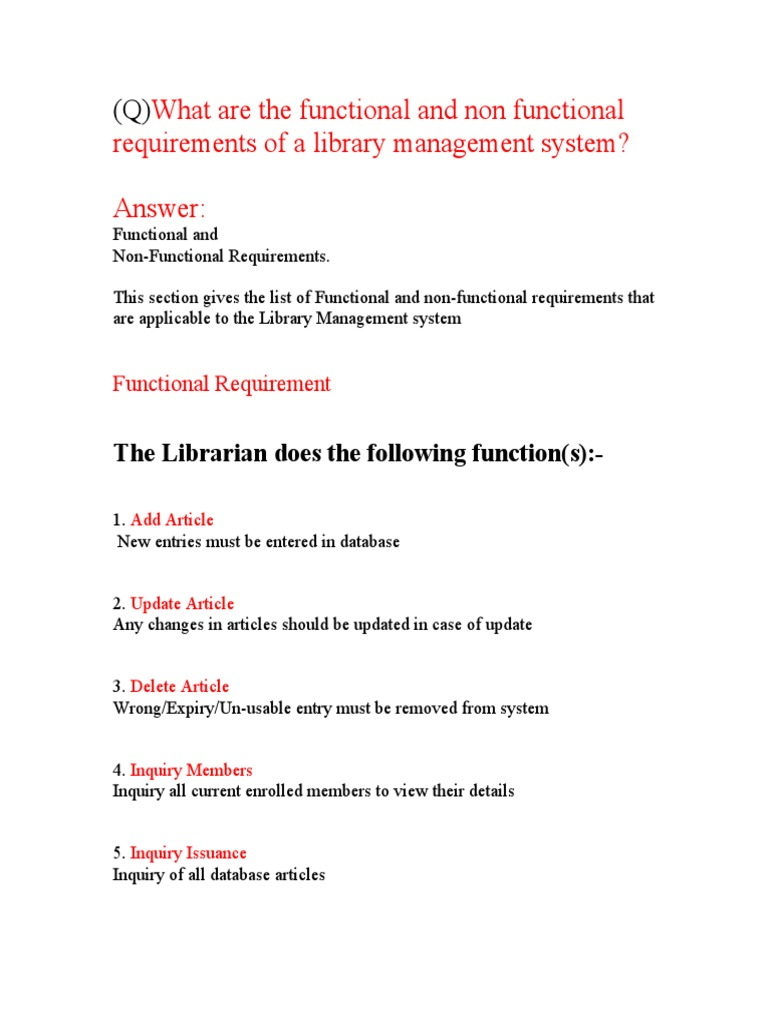 functional requirements of library management