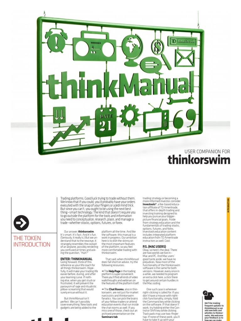 Think Or Swim Manual Order Exchange Financial Markets