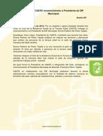 Entregan CASTE Reconocimiento a Presidenta de DIF Municipal
