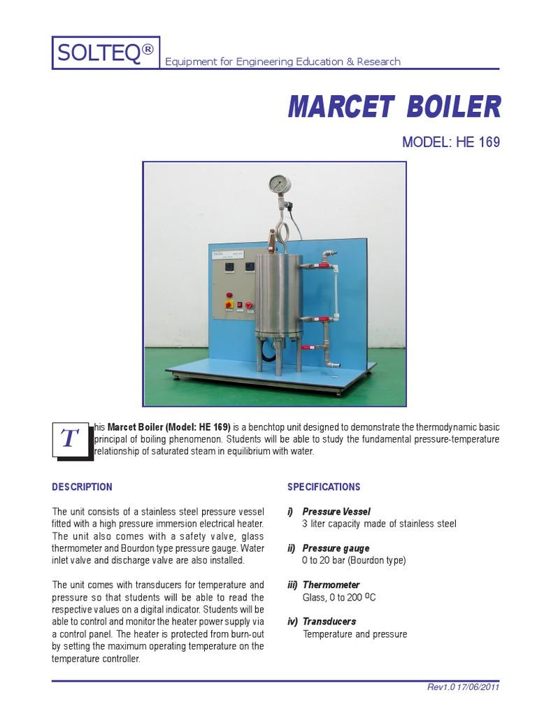 Marcet Boiler   Boiler   Pressure Measurement