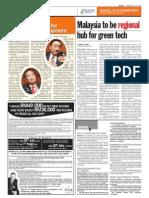 TheSun 2009-07-27 Page04 Malaysia to Be Regionla Hub for Green Tech