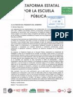 Comunicación al Presidente del Gobierno resultado provisional Consulta Ciudadana por la Educación