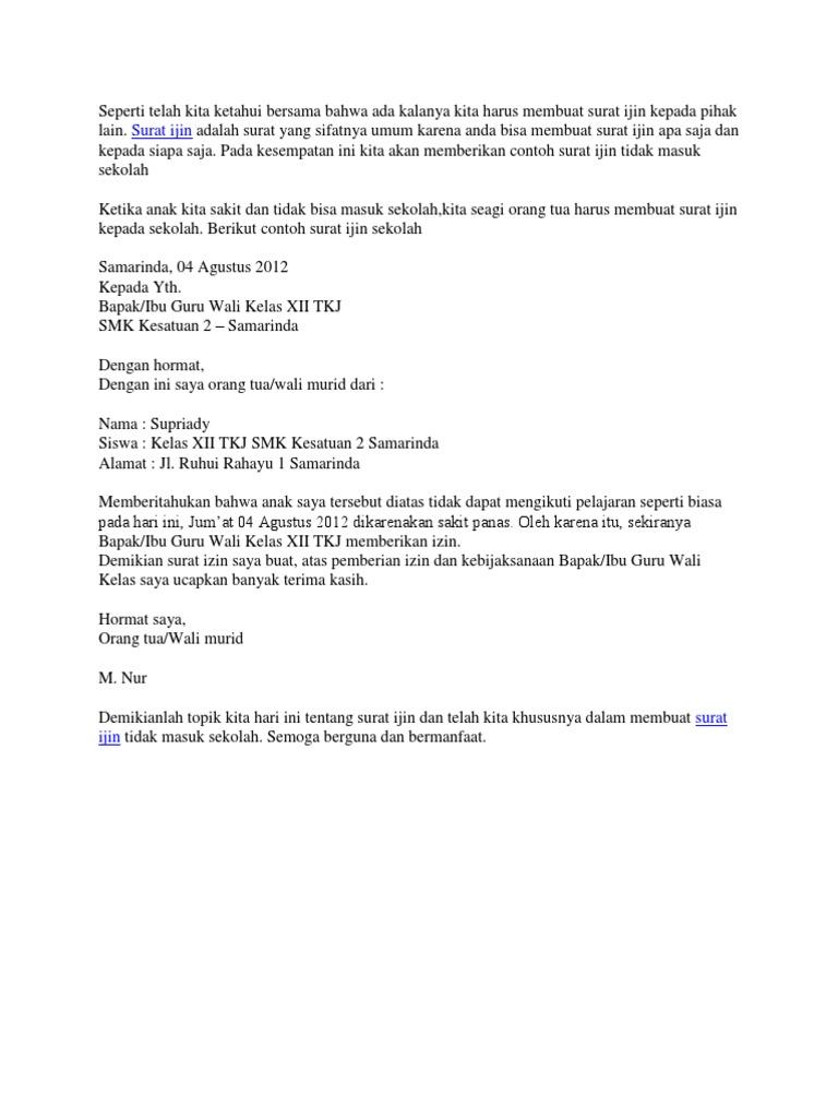 Contoh Surat Izin Sakit Untuk Sekolah Smk