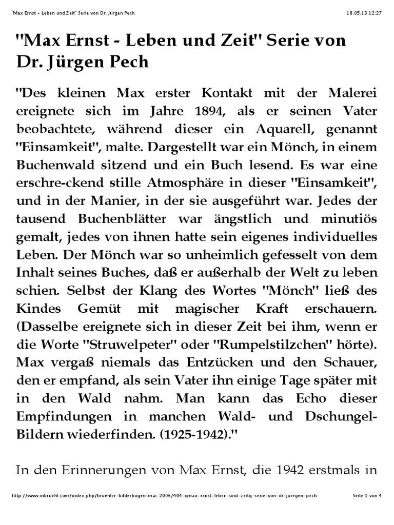 Max Ernst Leben Und Zeit Artikelserie
