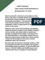 Inouye family testimony to the UH Board of Regents
