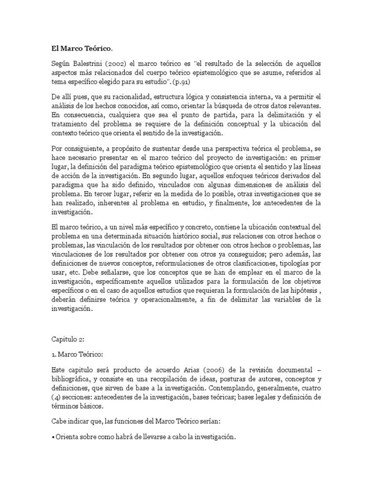 El Marco Teórico Balestrini Proyecto de Investigacion