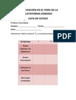 criterios de evaluacin de participacin en el foro