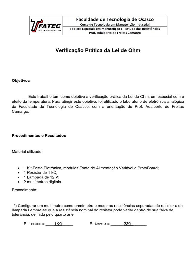 Verificação Prática da Lei de Ohm 4472d0a300