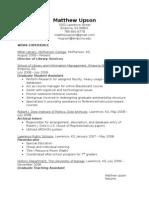 Upson Resume 27 July 09