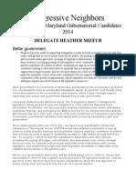 Heather Mizeur 2013 Progressive Neighbors Candidate Survey