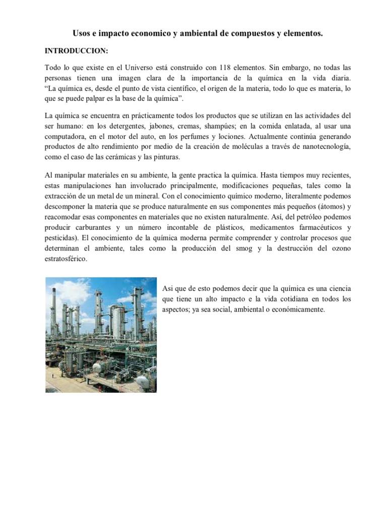 Usos e impacto economico y ambiental de compuestos y elementos usos e impacto economico y ambiental de compuestos y elementos qumicos urtaz Images