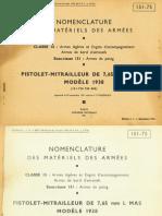 MAS Mle 1938 Nomenclature (French, 1951)