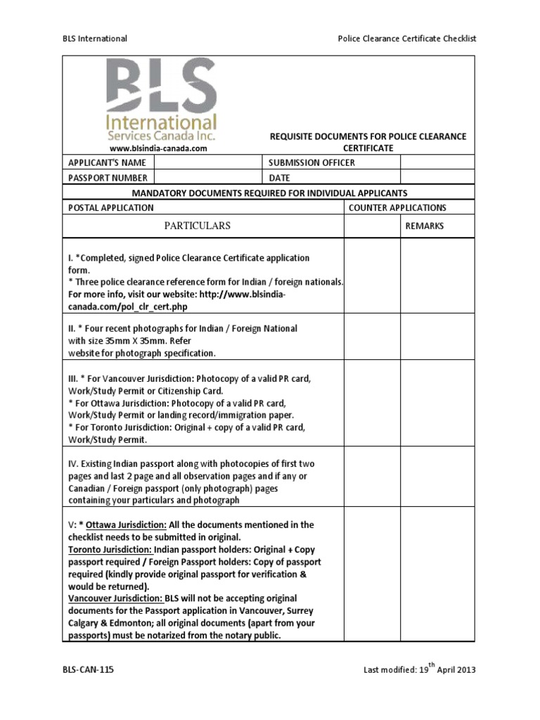 Blscan115_police Clearance Certificate Checklist Passport Notary Public How  To Become