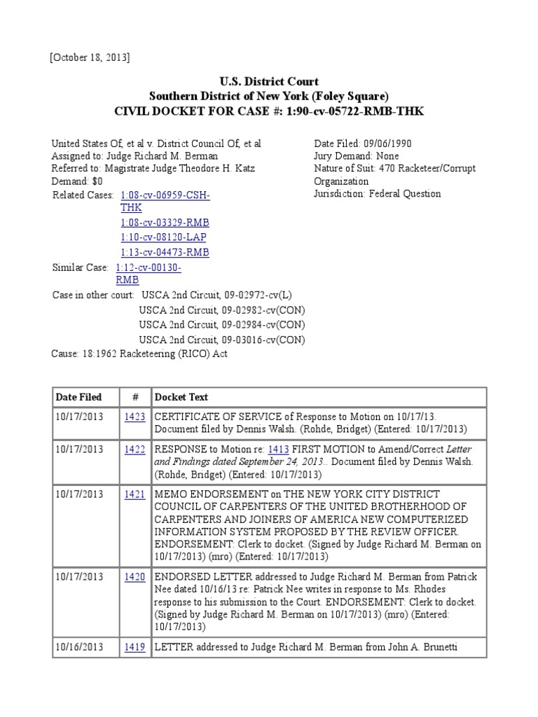 10 16 To 18 2013 Docket Report For Case 90 5722 Rmb Thk Judge 2nd Circuit United States District Court