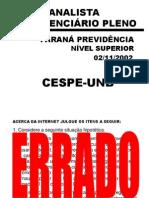 Apresentação Exercícios CESPE