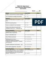 rubric for sport education model project